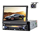 """Car Stereo Single Din Android Car Radio with DVD Player Bluetooth WiFi FM/AM Radio GPS Navigation 7"""" Touch Screen Indash Head Unit AUX-in USB SD Remote Control Car Multimedia Player + Backup Camera"""
