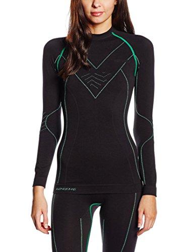 SPAIO Supreme T-Shirt Manches Longues Femmes, Noir/Vert, M