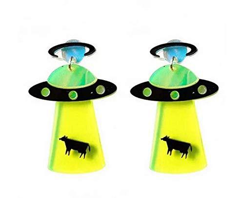 Miniblings Ufo Ohrringe Ohrstecker space Weltall Alien Invasion Kuh Beam - Handmade Modeschmuck I Ohrhänger Ohrschmuck versilbert