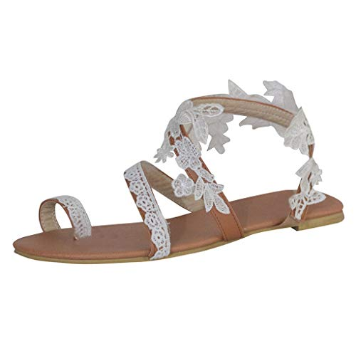 Women's Ring Toe Loop Slide Flat Sandals Pearls Bohemia Strappy Summer Beach Boho Casual Shoes
