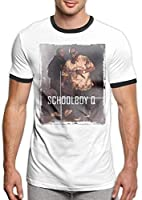 Schoolboy Q Men's Stylish Jersey Short Sleeve Ringer Tee,Black,Medium