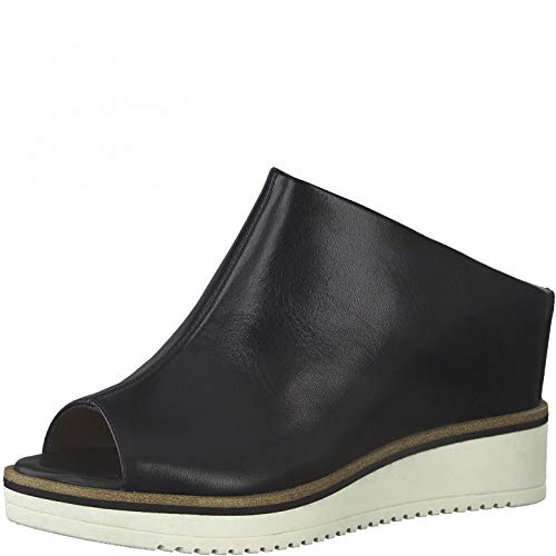 Tamaris Mujer Zuecos, señora Sandalias achineladas,Touch It,Zapatillas Cerradas,Zapatos de Verano,Cuña de tacón,Black Leather,39 EU / 5.5 UK