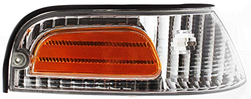 Corner Light Compatible with 1998-2011 Ford Crown Victoria Plastic Clear & Amber Lens Passenger Side