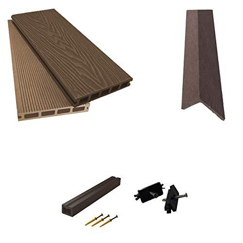 Tablero compuesto WPC Decking Boards en relieve Woodgrain Plastic Kit incluyendo viga de 2,9 m de largo (15 metros cuadrados, marrón)