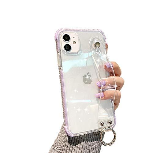 QfireQ Funda Transparente Case Compatible con iPhone 12/12 Pro/12 Pro Max/12 Mini Soporte de Pulsera Plegable y Lazo de cordón Cover de TPU Flexible Protección de Todo el Cuerpo,Púrpura,12 Pro