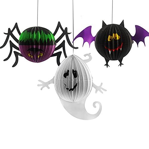 JIAOUA Halloween Papier Laternen Dekoration, Faltbar Lampenschirm Papier Lampions Lampe Wabenbälle mit Spinnen Fledermäuse Geister Papierlaterne,Hängedeko Halloween Party