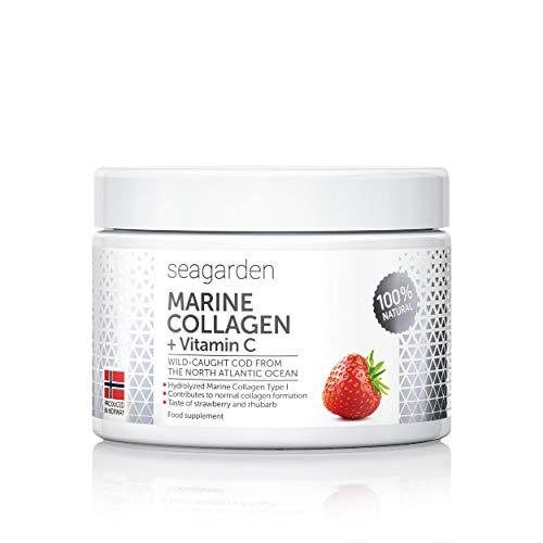 Polvere di collagene marino puro + vitamina C | Gusto di fragola | Peptidi idrolizzati | dal merluzzo artico norvegese selvatico | Integratore per pelle, capelli, unghie, tendini, legamenti | 150 g