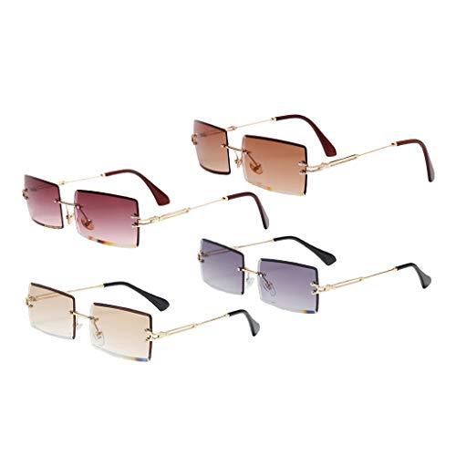 SM SunniMix 4PCS Gafas de Sol Sin Montura para Mujer Gafas de Lentes Teñidas Clásicas para Fiestas