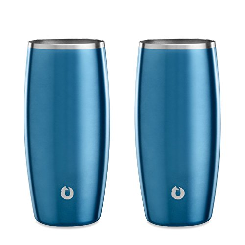 SNOWFOX Elegance Collection Insulated Stainless Steel Beer Glass, 18-ounce Set of 2, Soft Blue