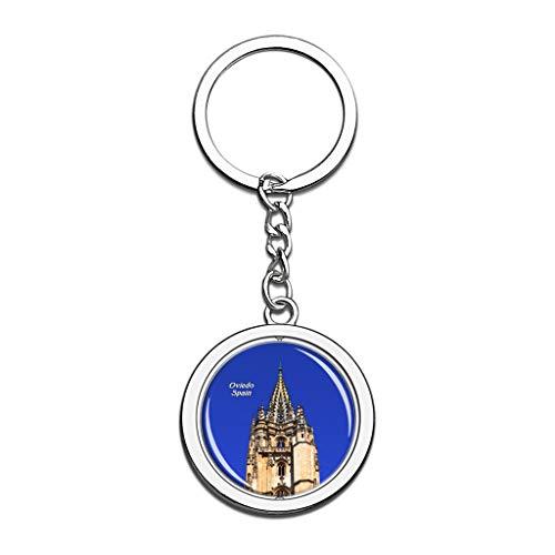 Hqiyaols Keychain España Catedral de San Salvador Oviedo Cristal Girar Acero Inoxidable Llavero Viajes Ciudad Recuerdo Llavero