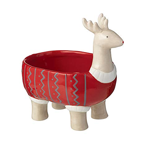 Grasslands Road'Reindeer' Candy Dish - Candy Bowl - Christmas Candy Bowl - Christmas Home Décor - Tabletop Décor, Ceramic, 6 By 6 1/2 By 4 Inches