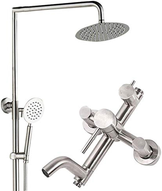 Brausegarnitur für Badezimmer für Privatgebrauch für groe Sprühdosen für Bad Handbrause für heies und kaltes Wasser Druck Praktisch Wandmontage, silberwei