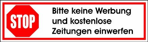 Keine Werbung! 5 weiße Briefkastenaufkleber 70x20 mm- Keine kostenlosen Zeitungen, Handzettel, Wurfsendungen und Wochenzeitungen!