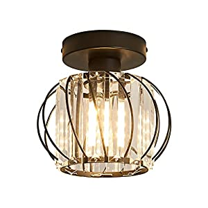 Ceiling Lights with Crystal, Semi Flush Mount Ceiling Light Fixture, Retro Industrial Black Metal Cage Lighting Fixture for Farmhouse Kitchen Hallway Bedroom Living Room Passway Balcony