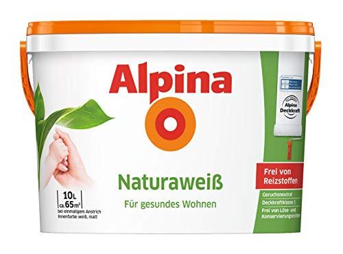 Alpina 5 L. &10 L. weiße Wandfarben für Innen, verschiedene Eigenschaften (10 Liter, Alpina Naturaweiß - Frei von Reizstoffen, Löse- & Konservierungsmitteln)