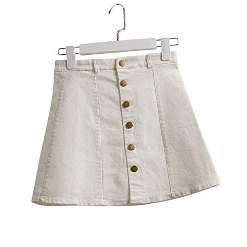 Falda de Mezclilla para Mujer de Verano Botón de Cintura Alta con Botones Kawaii Blanco Negro Faldas de Mezclilla Sexy Ropa de Mujer Mini Falda Corta Jeans