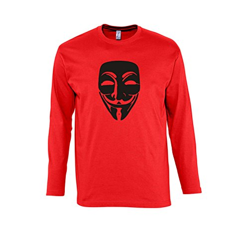 ANONYMOUS MASKE, Guy Fawkes, Acta, Vendetta KULT-Shirt - Herren Langarm Longsleeve T-Shirt S-XXL , Red - schwarz , XXL
