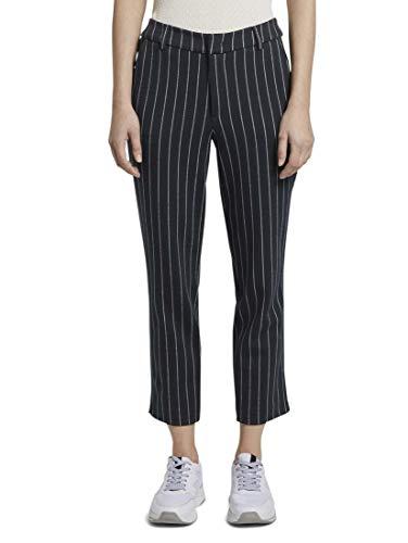 TOM TAILOR Denim Damen Hosen & Chino Cigarette Hose in Ankle-Länge Navy White pin Stripe,L