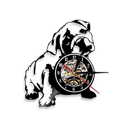 BFMBCHDJ Nettes Haustier Süße Welpen Vinyl Uhr Einfache Moderne Hundeserie Rekord Wanduhr Tierform Heimtextilien A2 Keine LED 12 Zoll