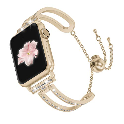 Wearlizer Womens Scrub Gold Compatible with Apple Watch Band 42mm 44mm iWatch Bling Jewelry U-Type Dressy Wristband Steel with Rhinestone Bangle Replacement Strap Metal Bracelet Chain Series 5 4 3 2 1
