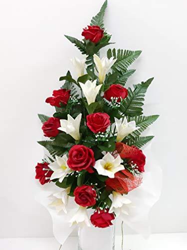Ramo para Cementerio de Flores Artificiales de Tela para Todos los Santos Medida 60cm. Rosa Roja (190151)
