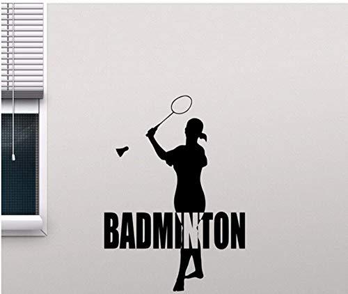 42X58Cm Sport Mädchen Silhouette Vinyl Wanddekor Aufkleber Badminton Aufkleber Schlafzimmer Home Decoration Gym Schule Wandbild Aufkleber Sport
