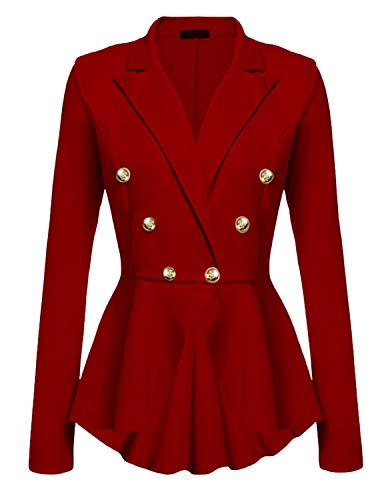 Quesera Women's Ringmaster Jacket Casual Work Double Breasted Crop High Low Peplum Blazer, Red, Tag Size 2XL=US Size X-Large