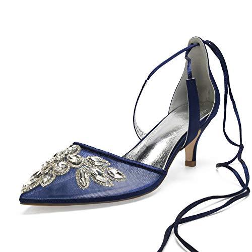 MarHermoso Zapatos de Fiesta con tacón de Gatito para Mujer, Color Azul, Talla 42 EU
