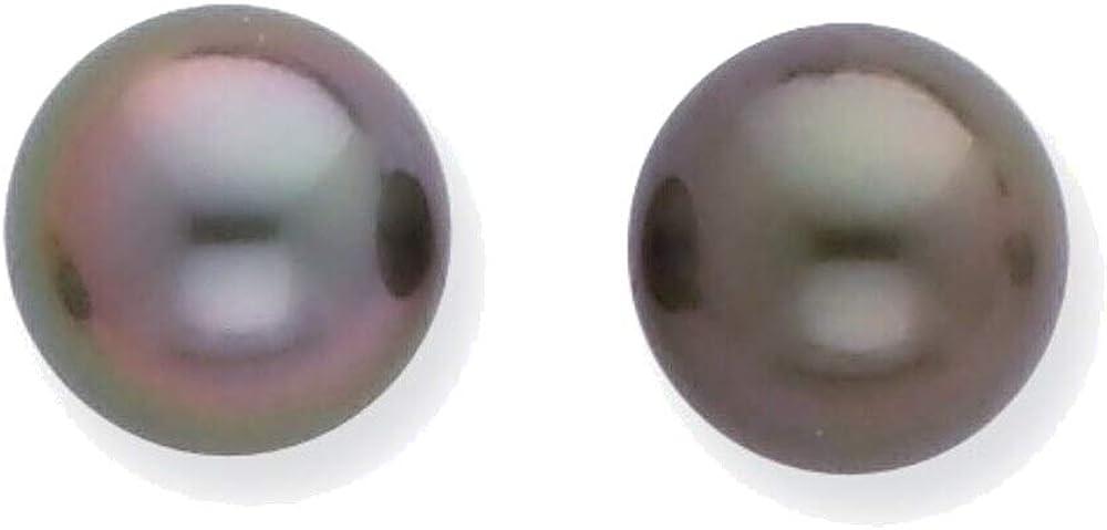 WG 8-9mm Black Round Saltwater Cultured Tahitian Pearl Post Earrings in 14K White Gold