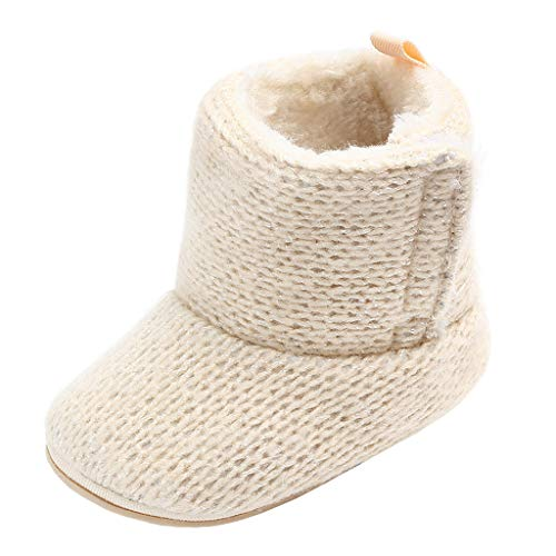 Annnowl Baby Girls Knit Soft Fur Winter Warm Snow Boots Crib Shoes (6-12 Months, Khaki)
