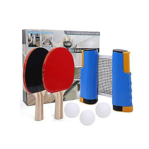 Juego de redes de tenis de mesa retráctiles de ping-pong, juego de pelotas ajustables para cualquier mesa en cualquier lugar, accesorios de repuesto para juegos en interiores y exteriores