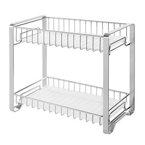 SONGMICS Spice Rack Organizer for Cabinet, 2-Tier Cabinet Shelf with Plastic Shelf Liner, Kitchen Counter Shelf, Anti-Slip Design, for Countertop, Bathroom, Silver UKCS013E01