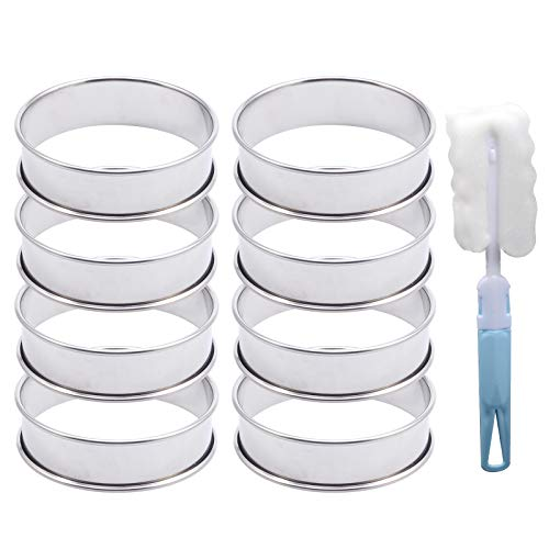 8 Pack 3.15 Inch Double Rolled Tart Rings, Stainless Steel Round English Muffin Rings Professional Metal Crumpet Rings Mousse Cake Ring Molds for Home Food Baking Tool With 1 Piece Plastic Brush