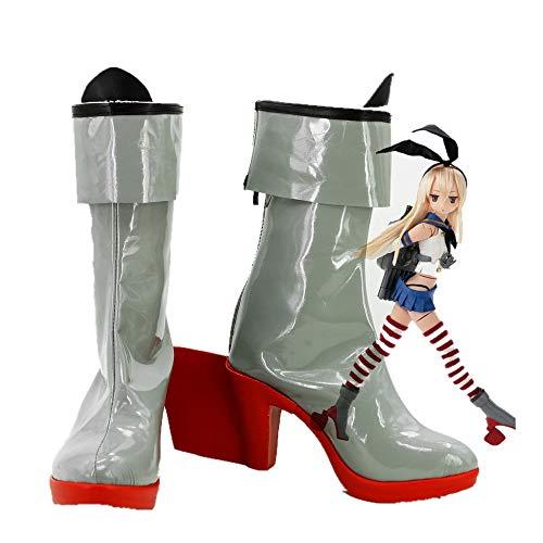 Anime Kantai Collection Shimakaze Cosplay zapatos fiesta elegantes botas de tacón rojo hechas a medida para niñas mujeres 46