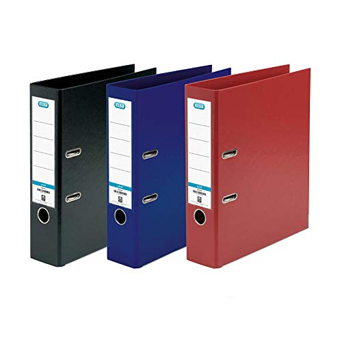 Elba, A4 Lever Arch Files, Assorted, Plastic, 3 Folders