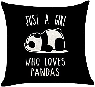 XUWELL Just A Girl Who Loves Pandas Panda Soft Throw Pillow Cover, Girl Panda Gifts for Girls, Cushion Cover for Sofa Bed ...