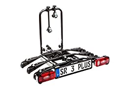 Bullwing SR3 + - Bike carrier for 3 bicycles hinged onto the car trailer hitch (special lock, anti-theft protection, 3X frame holder, wall bracket, belt included)