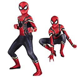 Utumr The Kids Bodysuit Superhero Costumes Lycra Spandex Halloween Cosplay Costumes L130 140cm Red