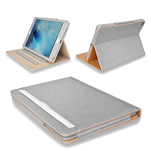 MOFRED Grey & Tan Apple iPad Executive Multi Function Leather Standby Case for Apple iPad 2 / 3 / 4 Independently Voted by 'The Daily Telegraph' as #1 iPad Case!