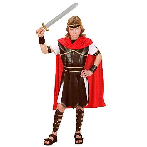 Nerd Clear Gladiator Römer Kostüm für Jungen & Mädchen |Tunika mit Armatur & Umhang, Gürtel, Armbänder, Beinschienen, Kopfbedeckung