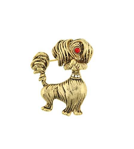 behave Mujer Broche de Perro con pedrería Hecho de Metal - Color Dorado - 4,5cm tamaño