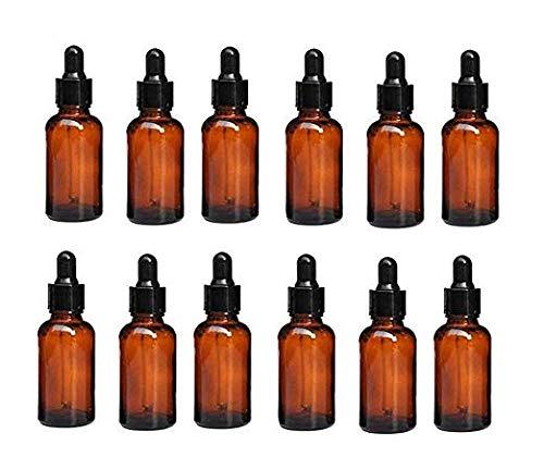 Lot de Flacons en verres teintés 30ml vide avec compte gouttes pour huiles essentielles ou Fleurs de Bach … (50 Flacons)