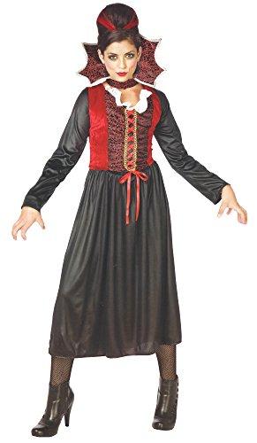 Disfraz de vampiro Gräfin de drácula para mujer, disfraz de vampiro para Halloween, carnaval, con cuello de terciopelo, talla única, S-M-L