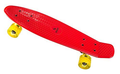 PiNAO Sports - Retro-Skateboard (Rot) für Kinder, Jugendliche & Erwachsene, Vintage-Skateboard (11041) [PP-Deck mit extra Verstärkungan der Unterseite, 60 x 45 mm PU-Rollen (Härte 78A),