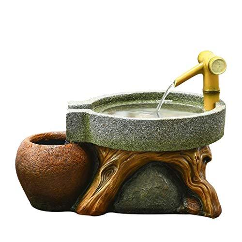 LMCLJJ Molino de Piedra de bambú Acentos de Perfil bajo Fuente de Agua for el jardín, Interior/Fuente al Aire Libre, Smooth Resistente Dividir bambú for un DIY Zen Fuente