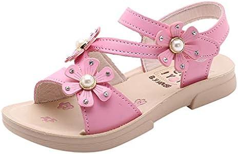 Sandalias Niñas Verano 2019 Sandalias de Flores Casuales Bohemias Princesa Zapatos Planos Sandalias y Chanclas para Niño Zapatos Niña Fiesta Pantuflas Patucos Calzado(Rosa Caliente,30 EU)