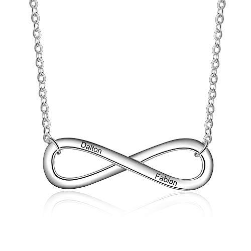 Grand Made Personalizado Infinity Necklace Nombre Personalizado Collar con Collar Promesa Infinita Relación con un Collar de Pareja con Plata Collar de Compromiso con Plata para joyería de la Mujere