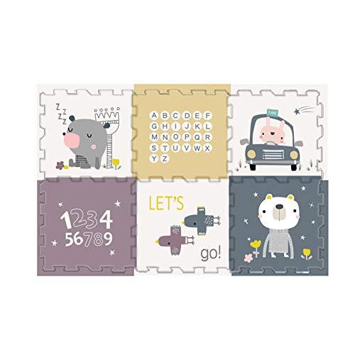 alfombra puzzle Suelo Goma Eva Bebe Entrelazar Niño Antideslizante Proteccion Entrelazado Puzzle Play Mats Interior Al Aire Libre (Color : XPE C 12PCS, Size : 56X56x2CM)