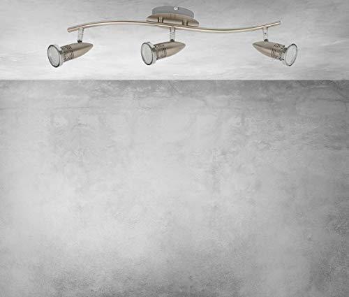 Trango 3-flammig 2005-032 LED Deckenleuchte *ANY* inkl. 3x 3 Watt GU10 LED Leuchtmittel in Edelstahl-Optik I Deckenlampe I Deckenstrahler I Deckenspots I Wohnzimmer Lampe schwenkbar und drehbar