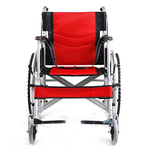 SXTYRL Klappbar Rollstuhl Standardrollstuhl Luxus Faltrollstuhl aus Kohlenstoffstahl mit Bremsen Transportrollstuhl Sitzbreite 45 cm Maximale Last 100kg,Red